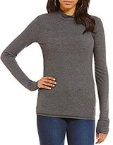 Copper Key Long-Sleeve Ribbed Knit Mock Neck Tee