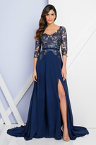 Terani Couture 1723M4393 Laced Scoop Neck A-Line Dress
