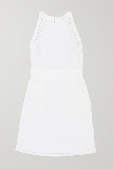 Chloé Crocheted Lace-trimmed Linen And Cotton-blend Mini Dress - White