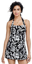 Classic Women's DD-cup Beach Living Hibiscus Halter Dresskini-Black Hibiscus