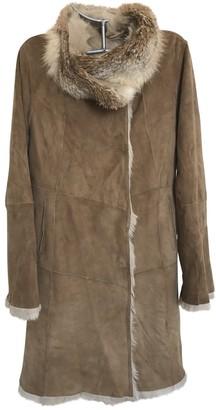 Gerard Darel Camel Fur Coat for Women