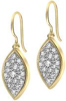 Dower & Hall Severine Yellow Gold Plated on Silver White Topaz Marquise Drop Earrings of Length 2.8cm