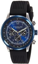 Stuhrling Original Men's Quartz Watch with Blue Dial Analogue Display and Black Silicone Strap 858R.01