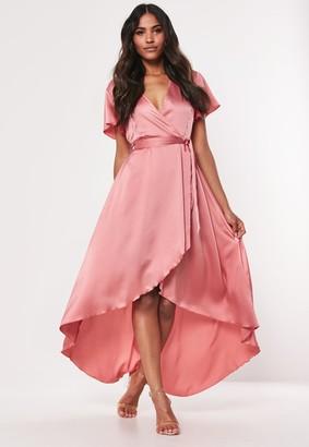 Missguided Blush Satin High Low Wrap Midi Dress
