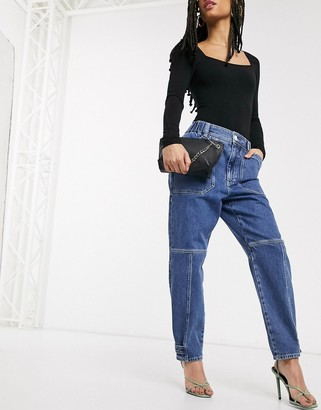 And other stories & organic cotton ovoid gathered ankle jeans in blue