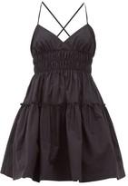 Three Graces London Mia Ruched Cotton-poplin Mini Dress - Womens - Black