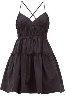 Three Graces London Mia Ruched Cotton-poplin Mini Dress - Black