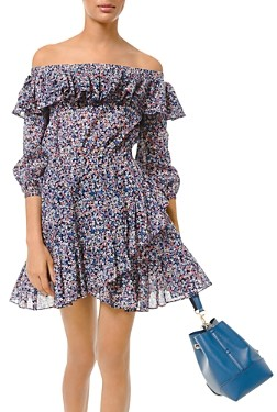 MICHAEL Michael Kors Ruffled Off-The-Shoulder Floral Print Mini Dress