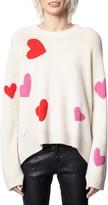 Zadig & Voltaire Markus C Heart Pattern Cashmere Sweater