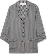 The Great The Sleeper Striped Silk Shirt - Black