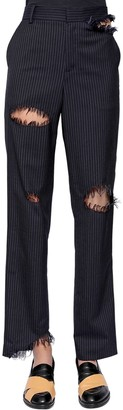 Facetasm Destroyed Pinstriped Wool Blend Pants
