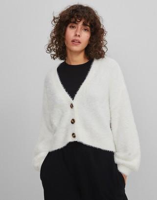 Bershka fluffy oversized cardigan in ecru