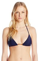 Milly Women's Italian Solid Positano Bikini Top with Bamboo Trim