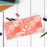 Grace & Favour Home Hexie Doodle Pencil Case, Coral Or Taupe