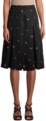 Alexander McQueen Pleated Print Skirt