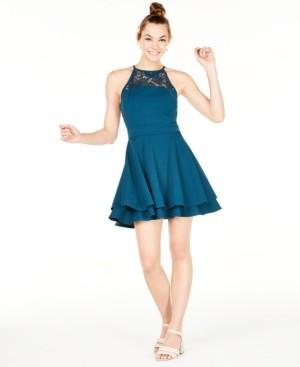 Emerald Sundae Juniors' Lace-Trim Scuba Fit & Flare Dress