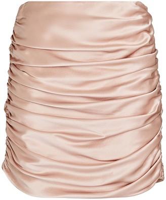 Mason by Michelle Mason Ruched Silk Mini Skirt