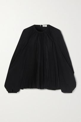 Saint Laurent Plisse Silk-chiffon Blouse - Black