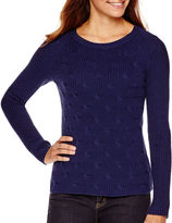 Liz Claiborne Long-Sleeve Shaker Stitch Sweater