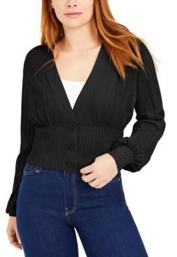 Bar III Ribbed Pleated Cardigan, Created for Macy's