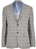 River Island MensGrey check linen-blend smart suit jacket