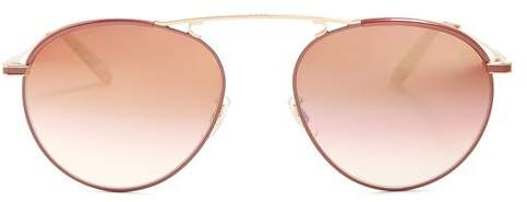Garrett Leight Innes 55 Aviator Metal Sunglasses - Womens - Copper