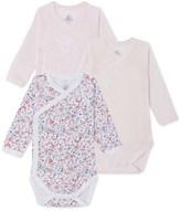 Petit Bateau Set of 3 newborn baby girl bodysuits