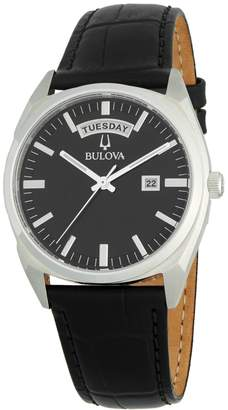 Bulova Stainless Steel & Leather-Strap Watch