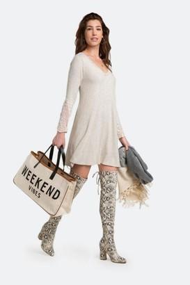 francesca's Breena Lace Sleeve Dress - Heather Oat