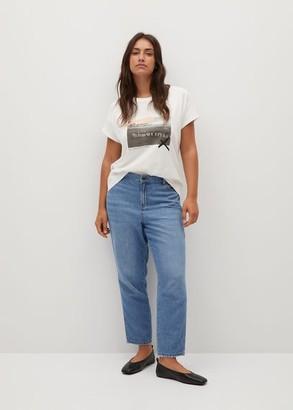 MANGO Violeta BY Boats printed cotton T-shirt off white - S - Plus sizes