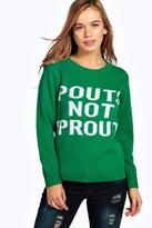 Boohoo Petite Grace Pouts Not Sprouts Christmas Jumper
