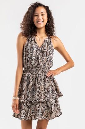 francesca's Eva Tiered Snake Print Mini Dress - Brown