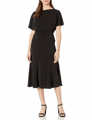 Donna Morgan Women's Stretch Metallic Knit Dolman Sleeve Midi Dress