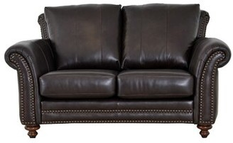 Brompton Westland And Birch Clinton Leather Loveseat Westland and Birch Upholstery Brown