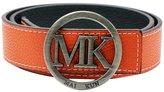 "Maikun Belts for Men Women MK Letter Gold Buckle 38mm White Leather Adjustable Belt 130cm for Waist Size 40-42"""