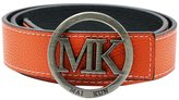 "Maikun MK Letter Silver Buckle Women Men Unisex 38mm White Leather Adjustable Belt 100cm for Waist Size 28-30"""
