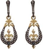 Armenta Mini Diamond Fleur-de-Lis Horseshoe Drop Earrings