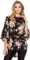 Quiz Black And Blush Floral Flute Sleeve Top