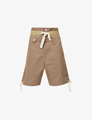 Nicholas Daley Relaxed-fit wide cotton, linen and silk-blend shorts