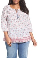 Plus Size Women's Caslon Print Cotton Tie Neck Peasant Blouse