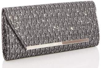 Quiz Silver Glitter Lace Clutch Bag