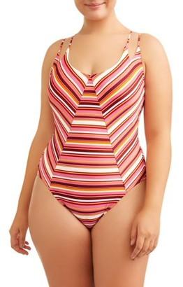 No Boundaries Juniors' Plus Sunbaked Stripe One Piece Swimsuit