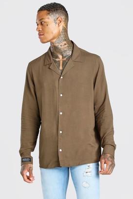 boohoo Mens Green MAN Cuff Tab Oversized Revere Collar Shirt, Green