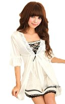Rokou Women's Twinset Lace Pajama Robe Mini Dress Sexy Nightgown Lingerie Set