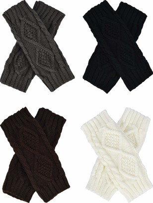 Tatuo 4 Pairs Women's Crochet Fingerless Gloves Knit Arm Warmers Sleeves Rhombus Gloves Thumb Hole Mittens (black