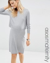 Asos Double Layer Knit Dress in Cashmere Mix