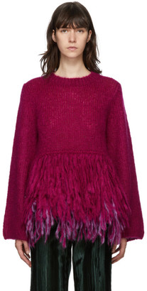 Dries Van Noten Pink Mohair Tassel Hem Sweater