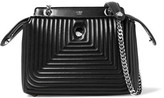 Fendi Dotcom Click Small Quilted Leather Shoulder Bag - Black