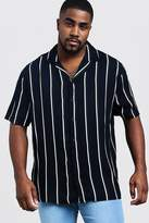 BoohooMAN Big & Tall Stripe Revere Collar Shirt