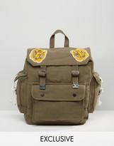Reclaimed Vintage Backpack With Tiger Badges